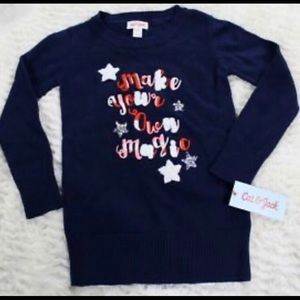"Sequined ""make your own magic""blue sweater"